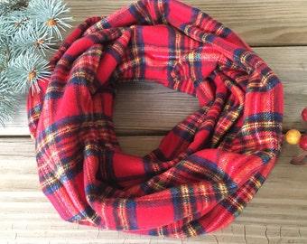 Plaid Infinity Scarf, Christmas plaid scarf, Red plaid infinity scarf, flannel infinity Loop scarf, tartan infinity scarf, winter scarf