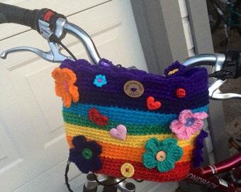 Bike Basket, crocheted buje basket,Carrier for bike, Bike basket bicycle basket/Decorated in your style