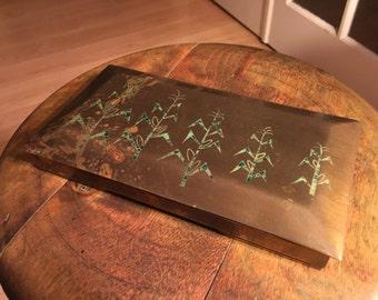 Antique art deco art nouveau brass and mahogany cigarette case with jade or malachite corn stock decorations