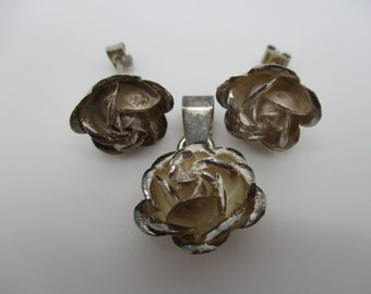 Sterling Silver Rose Flower Earrings and Pendant Set