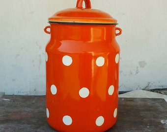 Vintage Soviet Enamel Red Orange  Polka Dot milk can with lid - Home decor - Made in USSR