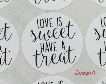 """Sticker Seals, LOVE IS SWEET, Candy Bag/Treat Bag Stickers, Valentine's Day,  Labels, 2""""  Round White Labels, 20 Stickers"""