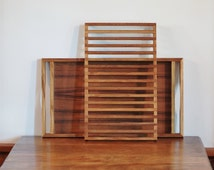 Selandia Designs Teak Tray, Mid Century Teak Slat Bread Board Serving, Danish Modern Wood Handled Bread Slicer Server Tray with Rack Insert