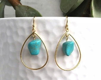 Turquoise and Gold Drop Earrings