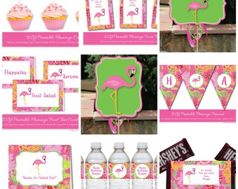 Pink Flamingo Party with Editable Text, Printable Flamingo Party Printables, DIY Flamingo Luau Party