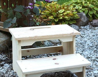 Step Stool, Two-Step Stool, Kids Step Stool, Wooden Step Stool