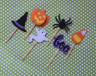 Halloween Cupcake Toppers, Halloween Party, Fall Cupcake Toppers, Ghost Cupcake Topper, Pumpkin Cupcake Topper, Boo Cupcake Toppers