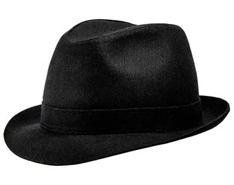 Linen and Cotton Blend Summer Trilby Short Brim Hat to order colorful band - black