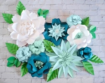 Mint Paper Flower Backdrop, Blue Paper Flower Wall Photo Backdrop, Wedding Paper Decor, Large Giante Paper Flower Decor, Wedding Backdrop