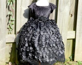 Black Flower Girl Dress, Black Flowergirl dress, Black Pageant Dress