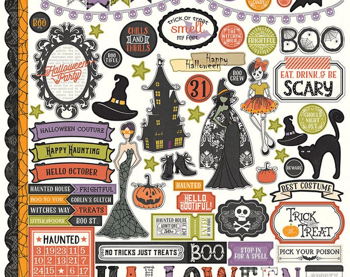 1 - 12x12 Sheet of Photo Play BOOTIFUL Halloween Theme Scrapbook Element Stickers
