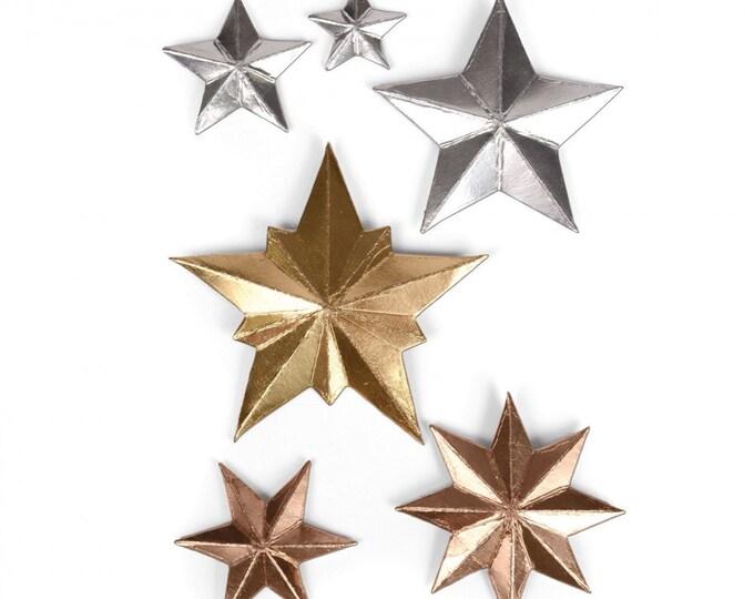 New! Sizzix Tim Holtz Thinlits Die Set 6PK - Dimensional Stars 661595