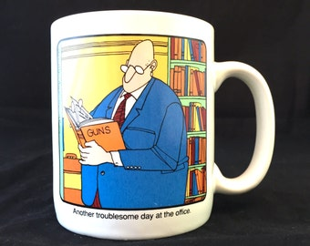 The Neighborhood Coffee Mug, Another Troublesome Day at the Office, Vintage 1988  Novelty Mug Gun Book, Double Sided Image, Coworker, Boss