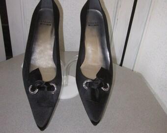 1990s STUART WEITZMAN Unworn Black Silk Kitten Heel Pumps, Size 9 - 9-1/2 W