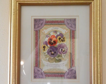 """Picture Frame - Gold Finish - Measures 12"""" X 12"""" - White Mat and Picture - Like New"""