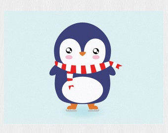 Penguin birthday card- Funny card - Greeting card with cute Penguin  - Printable 6x4 inch - kawaii Penguin Instant Download PDF DIY