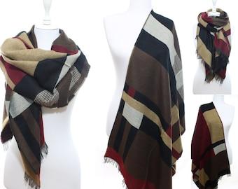 Blanket Scarf Tartan Plaid Scarf Cozy Warm Scarf Winter Accessories Women Fashion Accessories Scarves Valentine's Gift Ideas For Her For Him