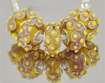 Yellow on Cream Color Murano Glass Bead Charm 925 Silver Fits Trollbeads Chamilia Biagi & All European Charm Bracelet Big hole bead