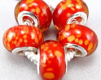 Orange Sprinkles on Red Murano Glass Bead Charm 925 Silver Fits Trollbeads Chamilia Biagi & All European Charm Bracelet Big hole bead