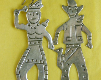 Wild West Cowboy & Indian 925 Sterling Silver Dangle Earrings ~ Mexico