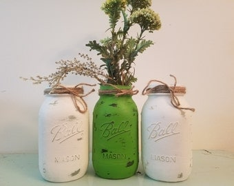 Green and White Mason Jar, Painted Mason Jar, Wedding, Baby Shower