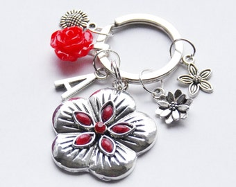 Personalized Key Chain Red Flower Key Ring Silver Initial Key Chain Red Rose Poppy Key Ring Silver Flower Keychain Handmade Key Fob Gift
