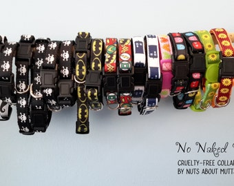 Cat collars printed ribbon collars take your pick X-Small, Small