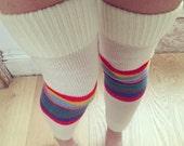 Vintage 70s 80s Leg Warmers - Striped Thigh High -  Stripe Socks - Roller Derby - Rainbow Stripe Leg Wamer - Flashdance