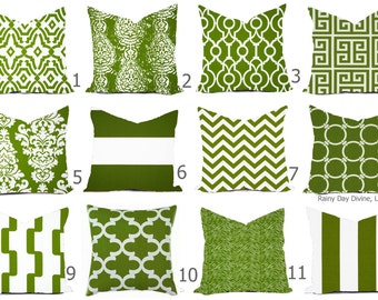 Outdoor Pillow  Indoor Custom Cover - Green Olive Grass Bay White Modern Geometric Tribal Quatrefoil 18x18, 16x16