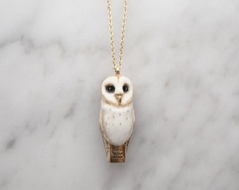 Lucky , Barn Owl whistle pendent Necklace.
