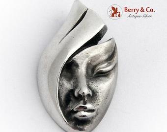 SaLe! sALe! Female Stylized Mask Pendant Sterling Silver