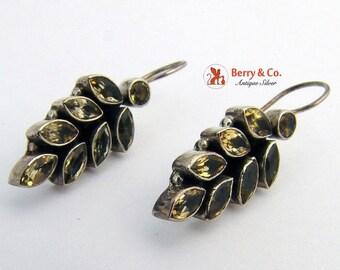 SaLe! sALe! Vintage Foliate Citrine Earrings Sterling Silver