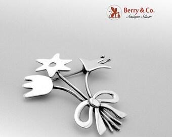SaLe! sALe! Modernist Floral Brooch Sterling Silver