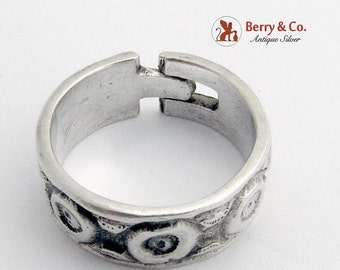 SaLe! sALe! Relief Pattern Silver Band Ring Adjustable