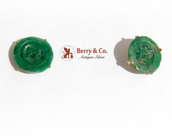 Carved Jade Round Stud Earrings Gold Filled