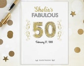 50th Party Guestbook, GoldenBirthday, 50th Anniversary, Wedding Photo Book, Photo Booth book, Gift for birthday boy, Bar Mitzvah party