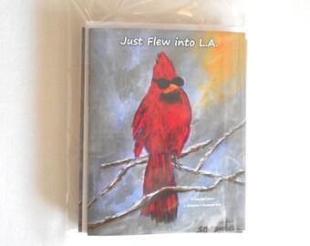 Cardinal Bird Sunglasses Humorous All Purpose Greeting Cards