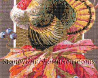 Autumn Thanksgiving Turkey Cross Stitch Pattern BlackWhite Symbols Download