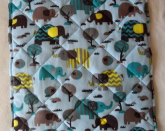 Fleece Elephant Quilted Blanket