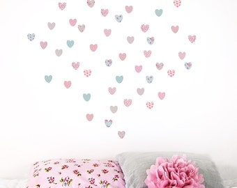 Mini Vintage floral Hearts fabric wall stickers