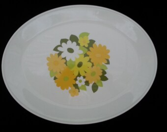 Johnson Bros Snowhite Kerrydale Ironstone Platter Floral 1970s Large 15.75 inch