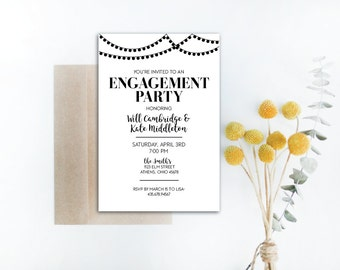 INSTANT DOWNLOAD engagement party invitation / vintage engagement party / string lights invite / engagement party openhouse / diy invite