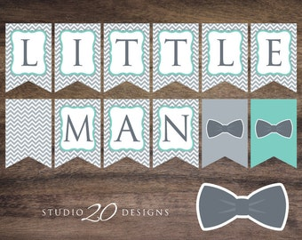 Instant Download Bow Tie Baby Shower Banner, Aqua Grey Little Man Bunting Banner, Bowtie Pendent Banner, Boy Chevron Baby Shower Banner 79C
