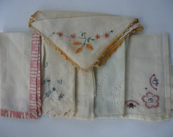Vintage Cotton Handkerchiefs (lot of 6)