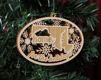 Engraved Maryland Wood Christmas Ornament
