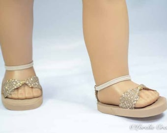 American Girl, 18 inch doll SANDALS SHOES Flipflops in Rose Gold Sparkle with Ankle Strap