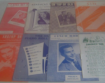Vintage Sheet Music Lot of 8 Pieces from New York, Radio City Broadway, Lyrics Piano Ukulele, Blues Waltz Disney