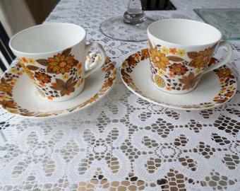 Cups & Saucers Vintage Orange floral design Made In England Tea for Two 1960's