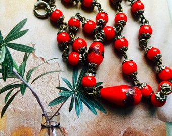1920s Czech Red Glass Drop Necklace