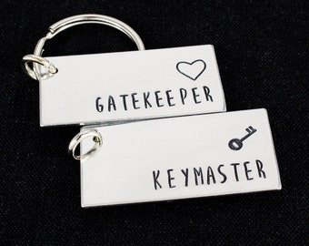SALE -  Gatekeeper and Keymaster Keychain Set - Couples Accessories - Aluminum Key Chains